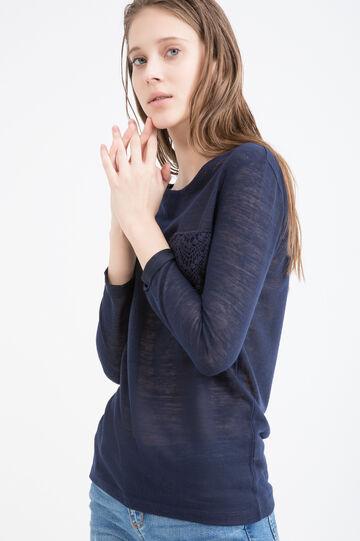 Viscose blend sweatshirt with small pocket, Navy Blue, hi-res