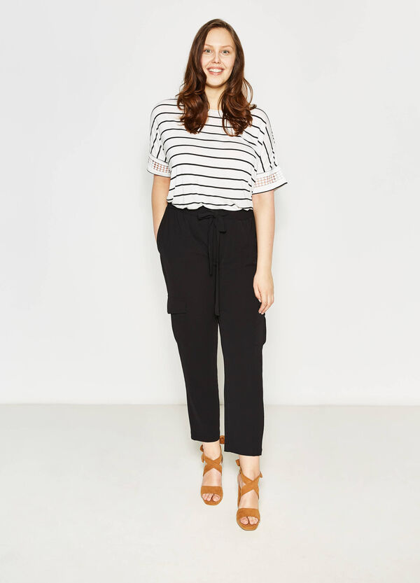 Curvy stretch trousers with pockets | OVS
