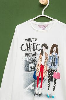 Printed cotton stretch T-shirt, White, hi-res
