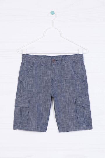 Bermuda shorts with large pockets, White/Blue, hi-res