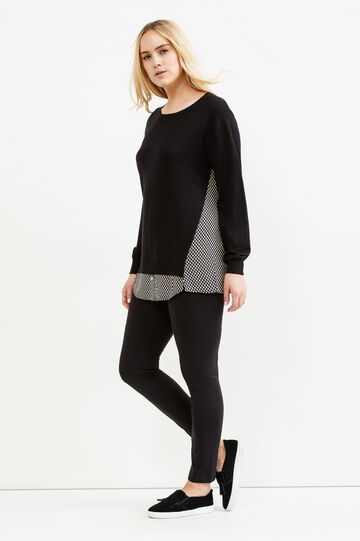 Pullover tricot finto doppio Curvy, Nero, hi-res