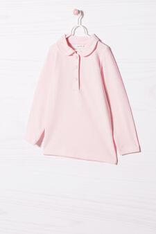 Polo cotone stretch con ricamo, Rosa chiaro, hi-res