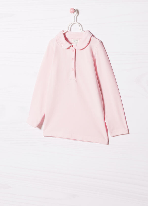 Stretch cotton polo shirt with embroidery. | OVS