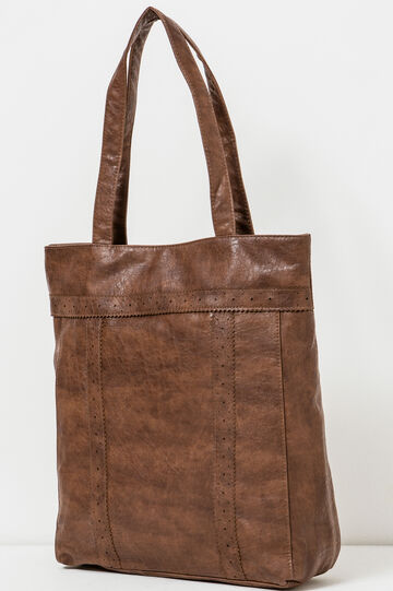 Hammered-effect shopping bag, Leather Brown, hi-res