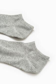 Solid colour stretch cotton socks, Grey, hi-res