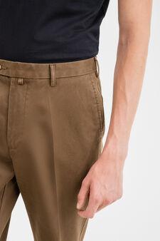 Solid colour 100% cotton joggers, Brown, hi-res