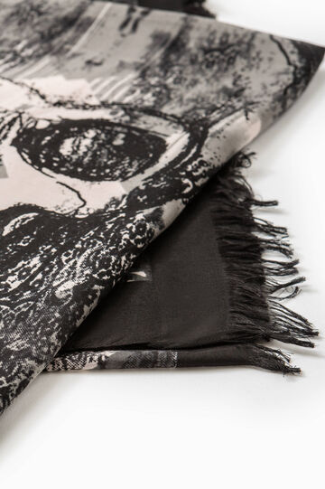 Fringed scarf with all-over print, Black, hi-res