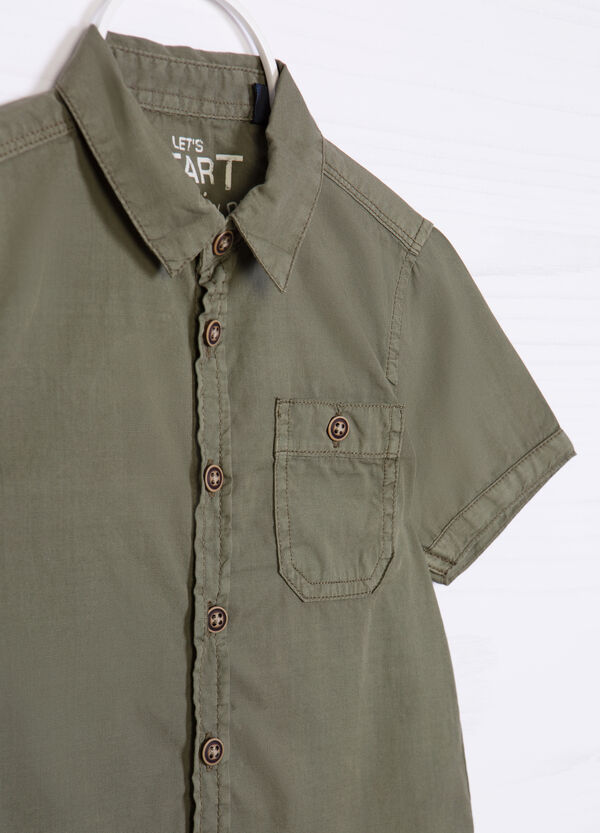 Solid colour 100% cotton shirt | OVS