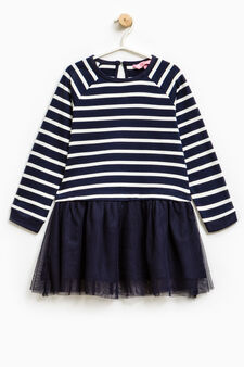 Cotton dress with tulle skirt, Blue, hi-res