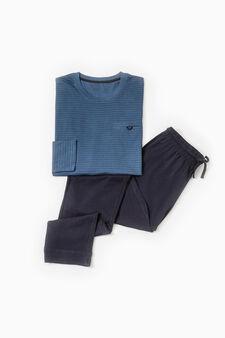 Striped pattern cotton pyjamas, Blue, hi-res