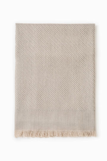 Knitted scarf with fringed edges, Grey, hi-res