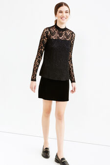 Stretch lined T-shirt in lace, Black, hi-res