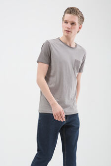 T-shirt puro cotone con taschino, Grigio, hi-res