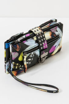 Purse with all-over print, Black, hi-res