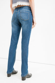 Worn-effect, stretch jeans with whiskering, Soft Blue, hi-res
