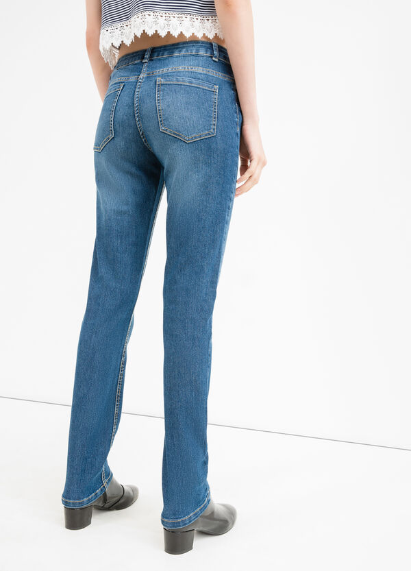 Worn-effect, stretch jeans with whiskering | OVS