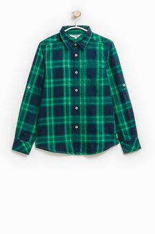 Check cotton shirt with long sleeves, Green, hi-res