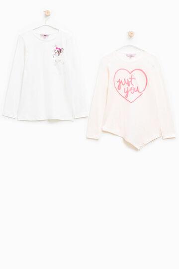 Pack de dos camisetas de manga larga, Blanco/Rosa, hi-res