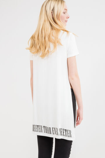 Viscose T-shirt with print on front and back, White, hi-res