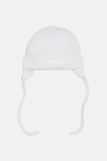 Beanie hat with self-tie closure, Cream White, hi-res