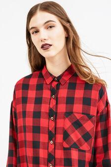 Camicia viscosa e cotone a quadri, Nero/Rosso, hi-res