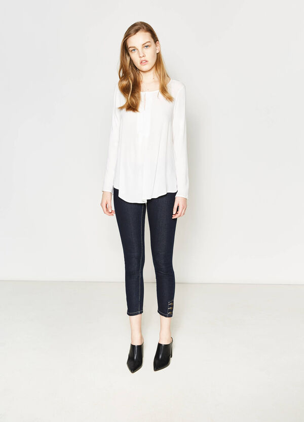 Viscose blouse with patterned inserts | OVS