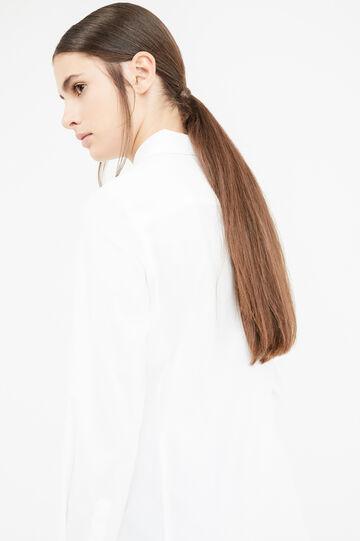 Solid colour stretch cotton shirt, Optical White, hi-res