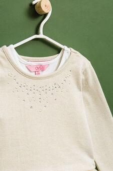 Tulle and diamanté cotton blend dress, Beige, hi-res