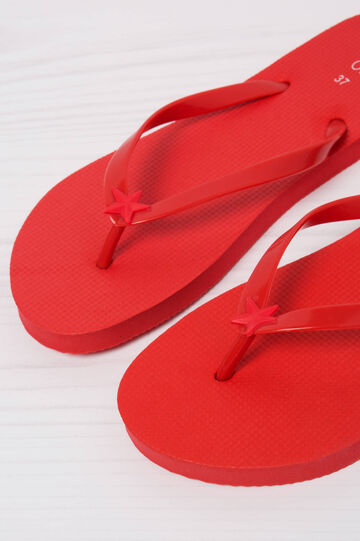Solid colour thong sandals, Red, hi-res