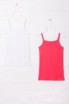 Two-pack cotton vest tops, Fuchsia, hi-res