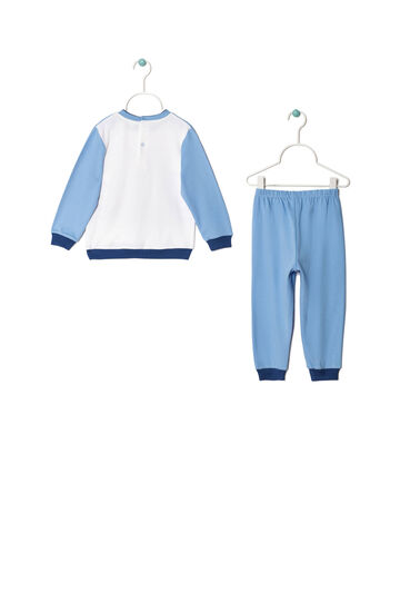 Cotton pyjamas with Mickey Mouse print, White/Light Blue, hi-res