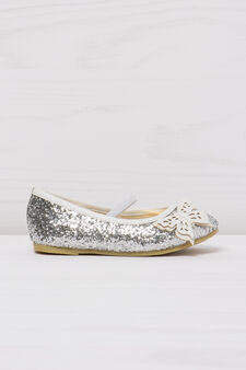 Round toe ballerina flats with glitter, Light silver grey, hi-res
