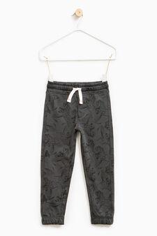 Pantaloni tuta cotone fantasia, Grigio, hi-res