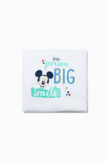 Blanket with Mickey Mouse patch, White/Light Blue, hi-res