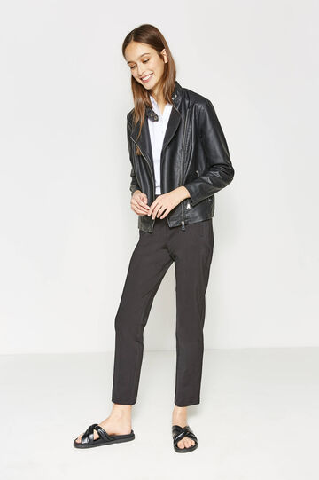 Leather-look jacket with lapels, Black, hi-res