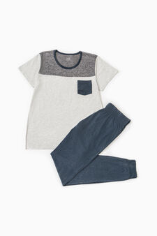 Pyjamas with chest pocket, Grey Marl, hi-res