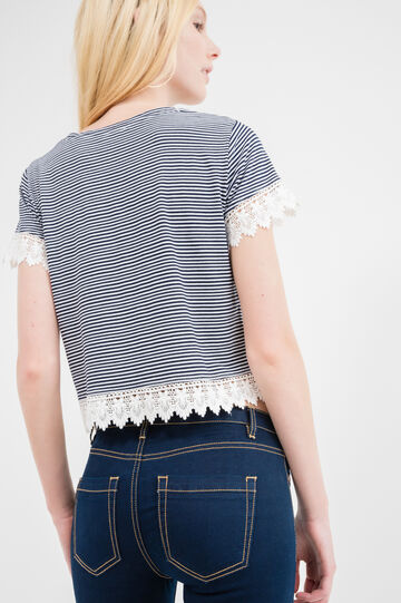 Patterned crop T-shirt in stretch viscose, Navy Blue, hi-res