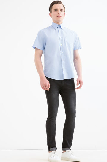 Camicia regular fit a righe, Bianco/Azzurro, hi-res