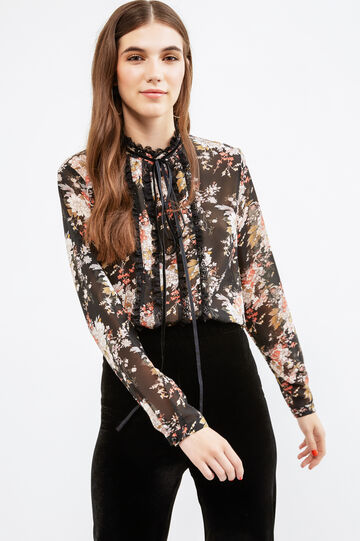 Long sleeved blouse with lace, Black, hi-res