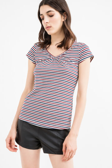 Stretch T-shirt with striped pattern, Red, hi-res