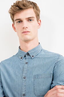 Slim-fit casual shirt with button down collar, Blue, hi-res