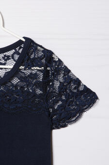 Stretch cotton T-shirt with lace insert, Blue, hi-res