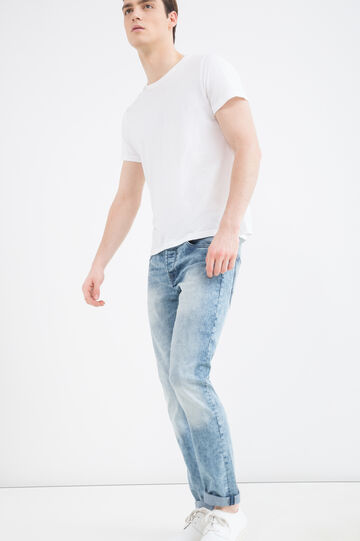 Slim-fit, faded stretch jeans