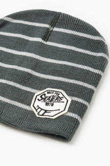 Striped beanie cap with patch, Light Grey, hi-res