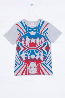 Marvel printed T-shirt in 100% cotton, Grey Marl, hi-res