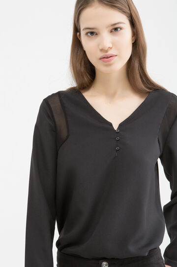 Blouse with semi-sheer inserts, Black, hi-res