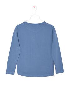 Rhinestone sweatshirt in 100% cotton, Blue, hi-res
