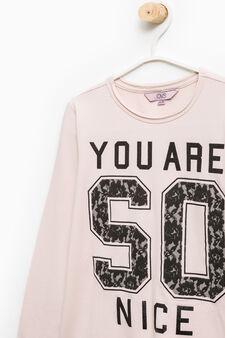 Printed cotton stretch T-shirt, Pink, hi-res