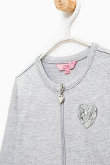Sweatshirt in 100% cotton with front pouch pocket, Light Grey, hi-res