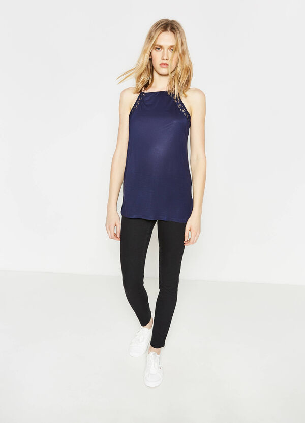 100% viscose top with lace | OVS